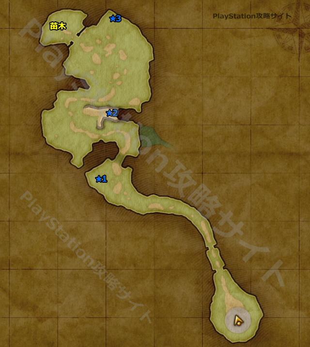 PS4版 ドラクエ11 バンデルフォン地方・北東の高台のマップ