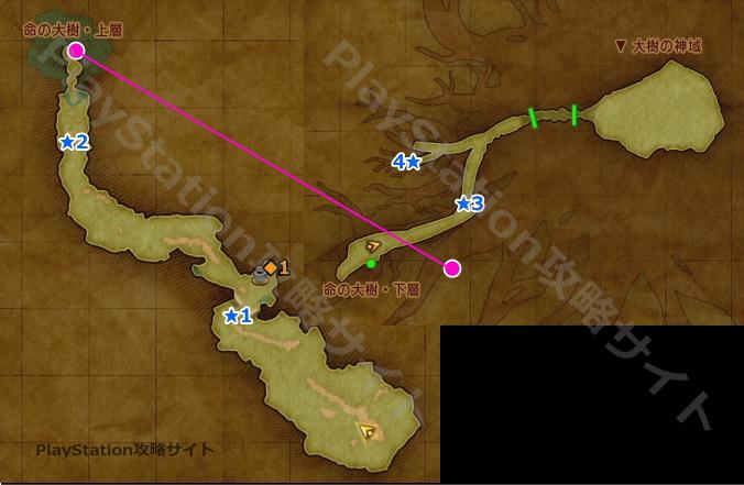 PS4版ドラクエ11 命の大樹のマップ