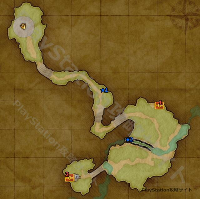 PS4版 ドラクエ11 メダチャット地方・西の高台のマップ