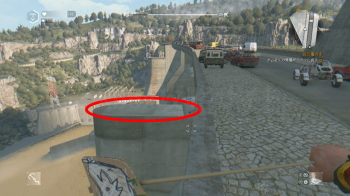 ダムの上から飛び降りるところ