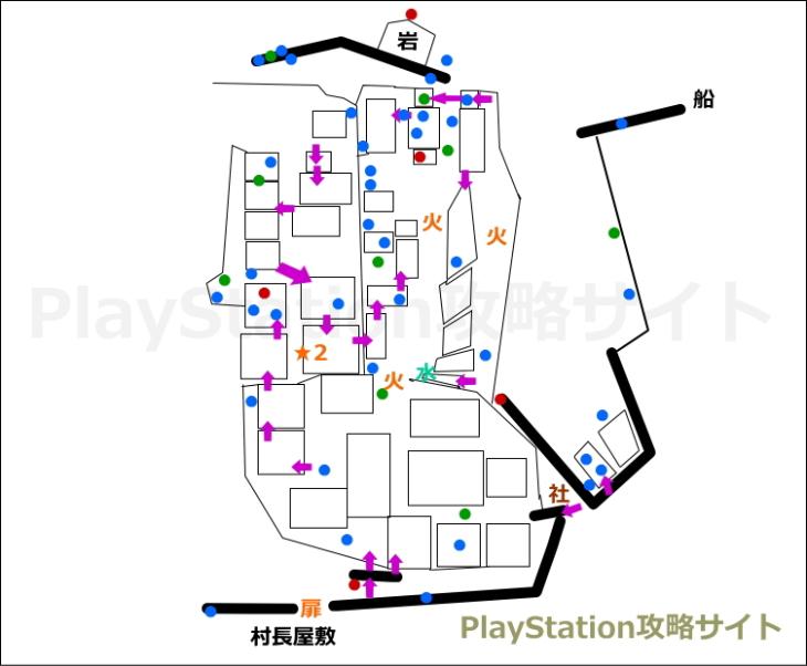 仁王 鬼の住む島 村・海岸 マップ2