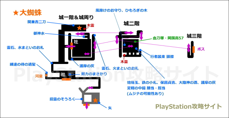信貴山の蜘蛛 マップ 城